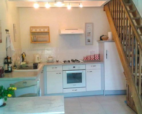 Kitchen area at Garden Gite